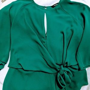 Express Tie Front Flutter Sleeve Blouse SMALL